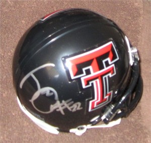 Jace Amaro autographed Texas Tech Red Raiders mini helmet