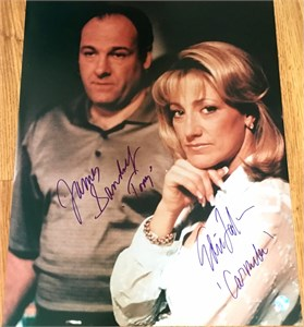 James Gandolfini & Edie Falco autographed Sopranos 16x20 poster size portrait photo inscribed Tony & Carmela