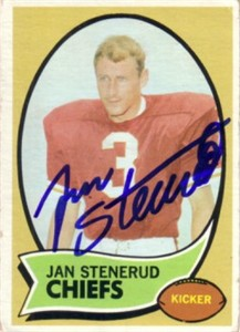 Jan Stenerud autographed Kansas City Chiefs 1970 Topps card