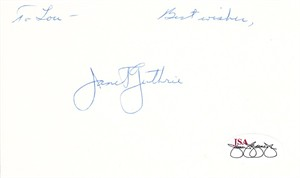 Janet Guthrie autographed 3x5 inch index card (personalized) JSA