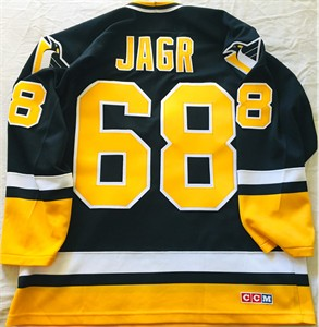 Jaromir Jagr Pittsburgh Penguins authentic CCM black stitched 1990s throwback jersey