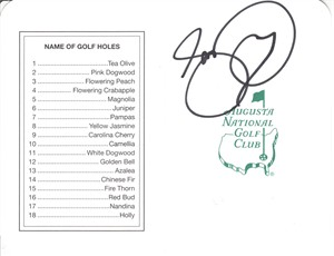 Jason Day autographed Augusta National Masters scorecard