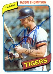 Jason Thompson autographed Detroit Tigers 1980 Topps card