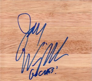 Jay Wright (Villanova) autographed 6x6 basketball hardwood floor inscribed GO CATS!