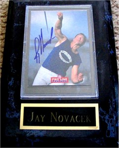 Jay Novacek certified autograph Dallas Cowboys 1993 Pro Line card in plaque