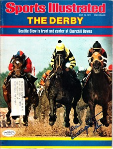 Jean Cruguet autographed Seattle Slew 1977 Kentucky Derby Sports Illustrated