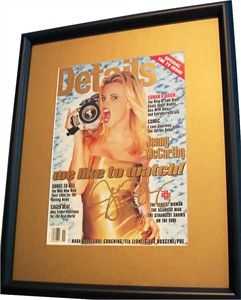 Jenny McCarthy autographed 1996 Details magazine cover matted & framed