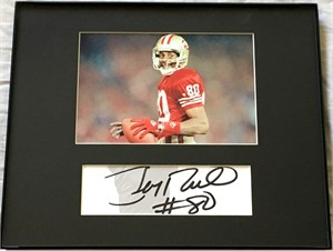Jerry Rice autograph matted and framed to 8x10 with San Francisco 49ers 4x6 photo