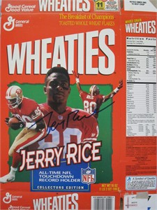 Jerry Rice autographed San Francisco 49ers All-Time NFL Touchdown Record Wheaties box
