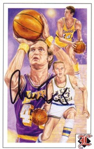 Jerry West autographed Los Angeles Lakers Legends postcard