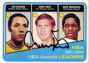 Jerry West autographed Los Angeles Lakers 1972-73 Topps Assists Leaders card