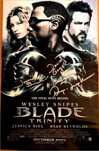 Jessica Biel and Ryan Reynolds autographed Blade Trinity mini movie poster