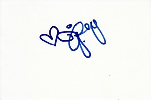 Jessica Rey autographed index card