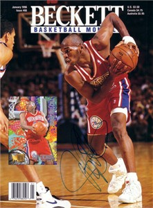 Jerry Stackhouse autographed Philadelphia 76ers 1996 Beckett Basketball cover
