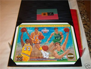 John Havlicek & Jerry West autographed 1992-93 NBA All-Star Upper Deck card sheet (UDA)