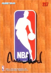 Jerry West autographed NBA logo 1995-96 Fleer basketball card