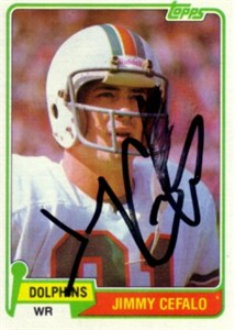 Jimmy Cefalo autographed Miami Dolphins 1981 Topps card