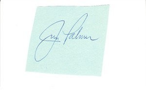 Jim Palmer autograph or cut signature mounted on 3x5 index card