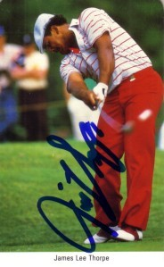 Jim Thorpe autographed 1987 Fax Pax golf card