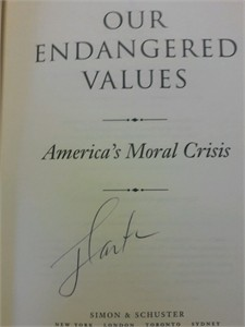 Jimmy Carter autographed Our Endangered Values hardcover book