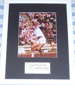Jimmy Connors autograph matted & framed with vintage tennis photo
