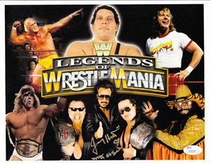 Jimmy Hart autographed Legends of Wrestlemania montage photo (JSA)