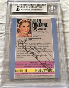 Joan Fontaine autographed 1991 Hollywood Walk of Fame card Beckett Authenticated BAS