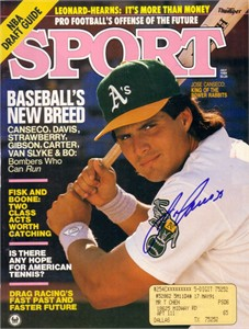 Jose Canseco autographed Oakland A's 1989 Sport magazine cover