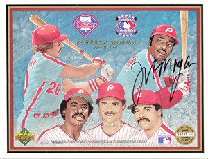 Joe Morgan autographed 1983 Philadelphia Phillies Upper Deck card sheet