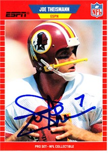 Joe Theismann autographed Washington Redskins 1989 Pro Set football card