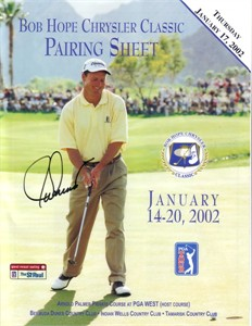 Joe Durant autographed 2002 Bob Hope Chrysler Classic golf pairings sheet