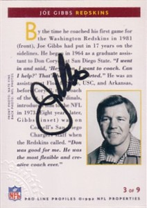 Joe Gibbs certified autograph Washington Redskins 1992 Pro Line card