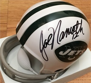 Joe Namath autographed New York Jets mini helmet