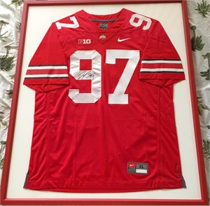 Joey Bosa autographed Ohio State Buckeyes authentic Nike stitched red jersey matted & framed