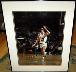 John Havlicek autographed Boston Celtics 16x20 poster size UDA photo matted & framed #339/500
