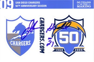 John Hadl autographed Chargers 50th Anniversary sticker sheet