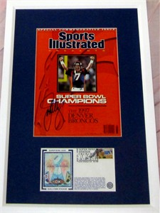 John Elway autographed Denver Broncos Sports Illustrated Presents cover matted & framed with Super Bowl 32 cachet