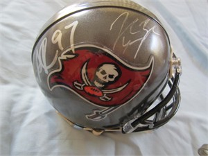 John Lynch & Simeon Rice autographed Tampa Bay Buccaneers mini helmet