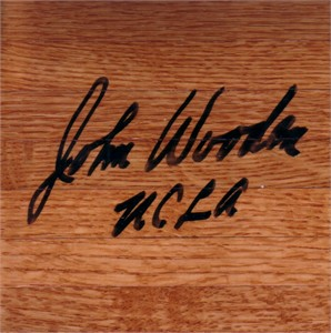 John Wooden autographed 6x6 basketball hardwood floor inscribed UCLA