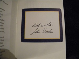 John Wooden autographed Wooden hardcover book inscribed Best wishes