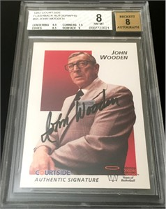 John Wooden certified autograph UCLA 1992 Courtside Flashback card BGS graded 8