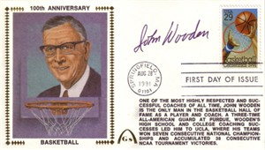 John Wooden autographed 1991 Basketball Centennial First Day Cover Gateway cachet