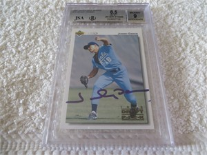 Johnny Damon autographed 1992 Upper Deck Minors pre Rookie Card BGS graded 8.5 NrMt-Mt++ (JSA)