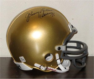 Johnny Lattner autographed Notre Dame mini helmet inscribed Heisman '53