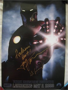 Jon Favreau autographed Iron Man 2007 Comic-Con Marvel mini movie poster (to Andrew)