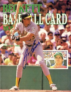 Jose Canseco autographed Oakland A's 1988 Beckett Baseball magazine cover