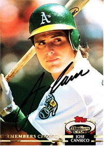 Jose Canseco autographed Oakland A's 1992 Stadium Club card