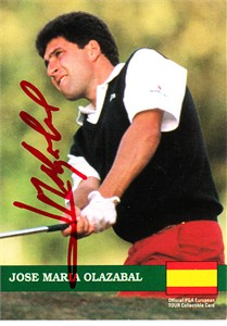 Jose Maria Olazabal autographed 1992 Pro Set golf card