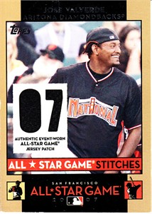 Jose Valverde 2007 Topps MLB All-Star Game Stitches event worn game jersey card
