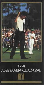 Jose Maria Olazabal autographed 1994 Masters Champion golf card